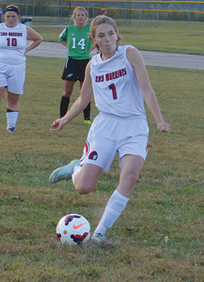 Eastern's Beka Grayless scores off a penalty shot during the Lady Warriors' Sept. 14 win over Fayetteville.