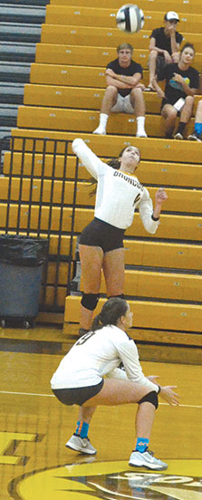 Western Brown's Erin Bishop goes up for a spike in the Lady Broncos' league victory over Batavia on Sept. 6.