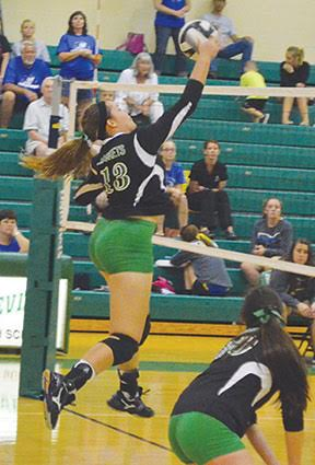 Fayetteville's Faith Stegbauer hammers down a spike during a Lady Rocket win this season.