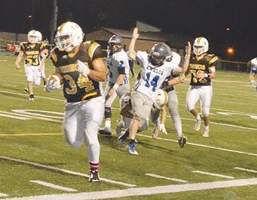Western Brown's Zach Stacy takes a reception for a touchdown in the Broncos' Oct. 7 win over Amelia.