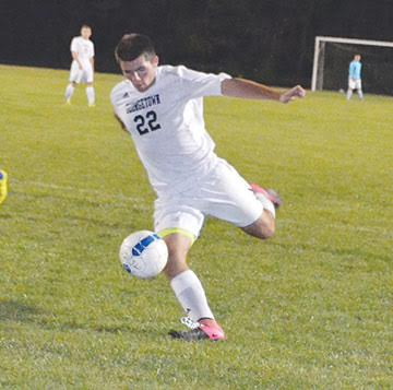 Georgetown sophomore Cameron Brookbank fires off a hard shot in the G-Men's Oct. 4 win over Clermont Northeastern.
