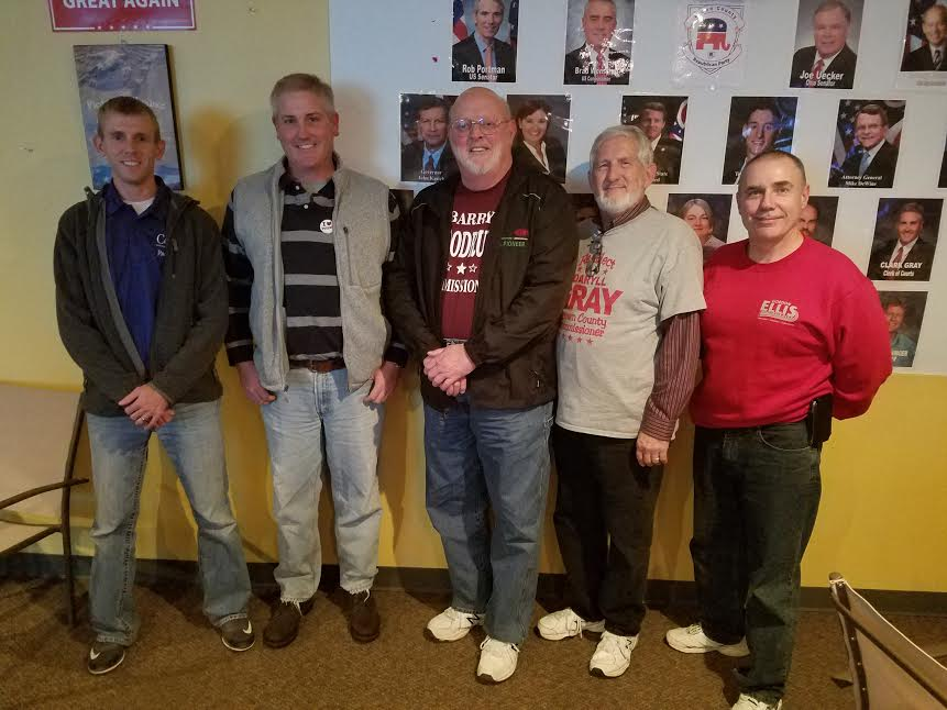 Brown County election winners (from left) Zac Corbin, Clark Gray, Barry Woodruff, Daryll Gray and Gordon Ellis celebrate their election victory in Georgetown.