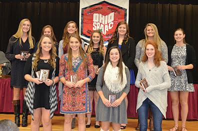 SBAAC American Division First Team volleyball players pose with their awards during the Fall Sports Awards Dinner and Banquet held at Hamersville School on Nov. 9. Front row, from the left, are Mary Sizer (junior, Western Brown), Tessa Pinkerton (junior, Western Brown), Emily Cooper (junior, Western Brown), and Ryan Williams (junior, Norwood); back row, Rachael Riffle (senior, New Richmond), Aubree Story (junior, New Richmond), Allison Umbarger (sophomore, Goshen), Lexi Payne (sophomore, Goshen), Trystan Norman (senior, Batavia), Alissa Marois (sophomore, Amelia), and Allie Brown (junior, Amelia).