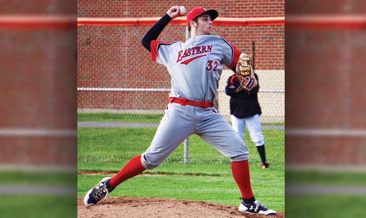 Eastern's Kevin Schmid delivers a pitch.