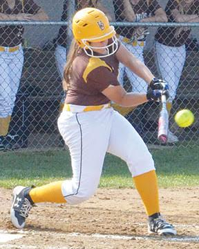 Western Brown's Liz Hadley hammers out a home run in the Lady Broncos' sectional tourney win over Mt. Healthy.