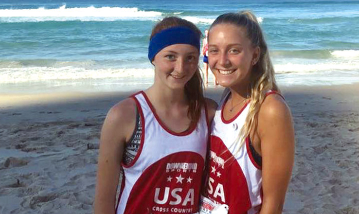 Sophia Leto, right, poses with another member of Team USA, Kenzie, of Texas, while in Australia to compete in the Down Under Sports Gold Coast 5.7K Marathon and All-American 5K Meet. Leto and Kenzie would become good friends during their time together in Australia.