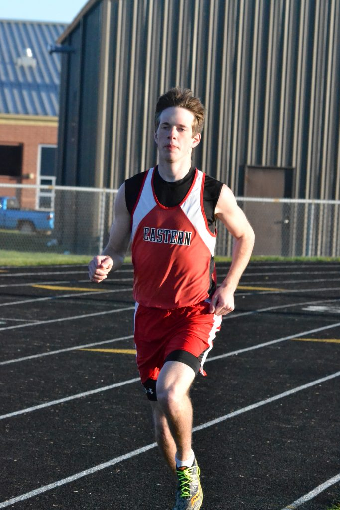 Eastern's Blake Rigdon placed second in the 1600 meter run before winning the 800 meter event at the Vern Hawkins Invitational last Friday. Photo by Garth Shanklin