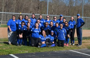 The Ripley Lady Jays softball team pose in front of their brand-new stadium after their home opener last week against Fayetteville. Photo by Wade Linville - News Democrat