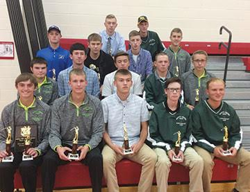 Earning All-SHAC awards in high school boys golf this fall were, front row, from the left, Elijah McCarty (West Union), Craig Horton (West Union), Logan Hayslip (Manchester), Noah Lung (North Adams), and Patrick England (North Adams); second row, Jacob Pell (West Union), Dylan Phillips (Ripley), Jordan Johnson (Eastern), Bryant Lung (North Adams), and Tyler Fowler (West Union); third row, Brian Dunn (Ripley), Scottie Ott (Ripley), Dylan Colvin (Manchester), and Eli Fuller (West Union); back row, Eric McLaughlin (Lynchburg-Clay) and Colt Shoemaker (North Adams).