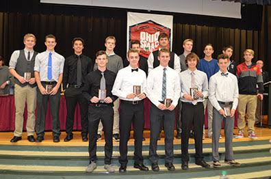 SBAAC American Division First Team boys soccer players pose with their awards during the Fall Sports Awards Dinner and Banquet held at Hamersville School on Nov. 9. Front row, from the left, are Austin Schweitzer (junior, Western Brown), Colston Roades (junior, Western Brown), Gabe O'Hara (senior, Western Brown), Sam Linkous (sophomore, Western Brown), and Chase Easterling (sophomore, Western Brown); back row, Luke Smiddy (senior, New Richmond), A.J. Hobbs (senior, New Richmond), Clayton Farmer (senior, New Richmond), Grant Anderson (senior, New Richmond), Phillip Cline (senior, Goshen), Garrett Kraus (senior, Batavia), Austin King (senior, Batavia), Brendan Shank (junior, Amelia), Bradyn Riffle (sophomore, Amelia), and Beau Hoffman (senior, Amelia).