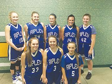 Taking the court for the Ripley-Union-Lewis-Huntington varsity girls basketball team this season are, front row, from the left, Kacy Gilkerson, Cailey Kird, and Savanna Proffitt; back row, Carlee Daulton, Jennifer Eichner, Kassey Arnett, Kursten Prater, and Tori Lewis.