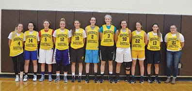 The Western Brown Lady Broncos are in search of an SBAACAmerican Division title after finishing as league runner-up last season. From the left are Amanda Woodyard, Emily Cooper, Maddy Whisman, Cana Kleemeyer, Tessa Pinkerton, Rylie Young, Taylor Barthel, Kaitlyn Huseman, Bailie Darnall, Gracie Fischer, and Courtney Crisp.