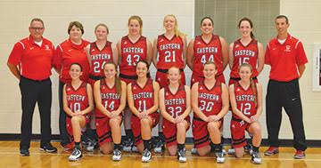The Eastern Lady hit the hardwood this season with hopes of rising back to the top of the Southern Hills Athletic Conference big school division after finishing runner-up in the league last season. Frpnt row, from the left, are Camryn Pickerill, Morgan Reynolds, Whitney Broughton, Andrea Edmisten, Allison Malott, and Jensen Sowers; back row, assistant coach Dan Beasley, assistant coach Debbie Forsythe, Haley Fannin, Mikayla Farris, Allison Day, Alexa Pennington, Destinie Rose, and head coach Kevin Pickerill. Not present at picture time was assistant coach Janie Day.